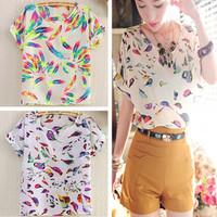 New fashion 2014 Hot Sale Women Bird Feathers Colorful Chiffon blouse shirt lady fashion Batwing short sleeve Loose Blouse S-XL