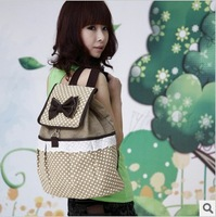 Free Shipping Fashion women's Cute Bowknot Dot Canvas String Backpack Shoulder bag,School Bag 1 Pcs MOQ