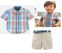 HOT SALE 2014 New Baby boys POLO Plaid T-shirt + casual shorts suit children Handsome boy top pants sets two-piece 6set/lot