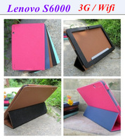 Free shipping Leather case cover for Lenovo S6000 3G S6000 Wifi 10.1 inch Quad core tablet pc