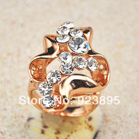 Free Shipping 2013 Latest 18K Gold Plated Fashion Crystal Jewelry Finger Ring Women