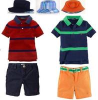 2014 New Baby boys POLO Hat + striped T-shirt + shorts suit children boy bucket cap top pants sets three-piece 6set/lot