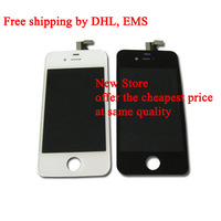 Free Shipping by DHL LCD Screen with Touch Screen Digitizer Assembly for Iphone4 Iphone 4 4G GSM AT&T White or Black