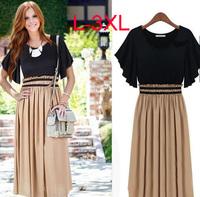 L-3XL high street fashion new 2014 women summer dresses for fat women maxi dress chiffon maxi dresses Work Wear career dress
