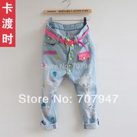 Free shipping Brand 2015 pants simple pocket denim harem pants jeans hole light blue jeans baggy jeans