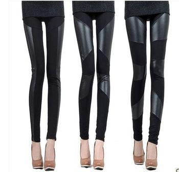 2015 New Fashion Women Faux Leather Patchwork Korean Pencil Leggings Plus Size  Leather Pants S-XXXL Free Shipping