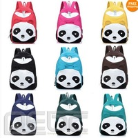 Free shipping# 9 colors women lady cute Panda Canvas School Book Campus Bag Backpack special
