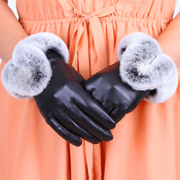 New 2014 Winter  Female Luxury Style Warm Sheepskin Genuine Leather Rabbit Fur Gloves Driving Thickening  Gloves  Free Shipping