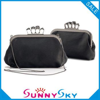 2013 New Women Ring Bag Skeleton Skull Finger Clutch Purse Evening Handbags free shipping wholesale Wallets