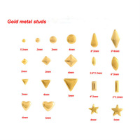 Pick U Design  Free Shipping 1000pcs/pack Gold Metal Nail Art Decoration Different Shape Metallic Studs Nail Tips Pedicure Dec