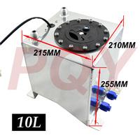 10L Aluminium Fuel Surge tank mirror polish Fuel cell foam inside, with sensor PQY-TK38