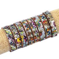 Lots 8PCS Mosaic Image PEACE SKULL OX Leather Bracelet Punk Bracelet Fashion For Women Men CL1025