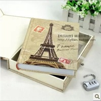 Eiffel tower vintage diary with lock notepad hard copy