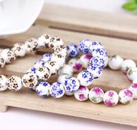 Women Girl Costume Fashion Boutique Traditional Ceramic Blue and White Porcelain Flower Painting Beads Bracelet Bangle Wholesale
