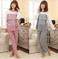 Maternity Lactating Pajamas Pregnant Lady Spring Autumn Long-sleeved Pyjamas Nursing Night Home Clothes Sleepwear Nightwear