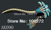 wholesale vintage zinc alloy rhinestone flower Hair sticks Hair fork hair accessories Free shipping 12pcs lot mixed color AK090