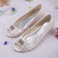 (12 Colors)Custom Crystals Rhinestone White Ivory Peep toe Bridal Wedding Shoes Ballet Flats Style