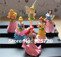 Free shipping Imitated TV PVC Princess Ariel Cinderella Snow White Figure Toys For Girls (6 pcs/set )