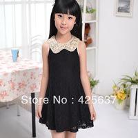 Free Shipping (Black White) Korean Lace Girls Summer Princess Dress Wholesale Age:4 6 8 10