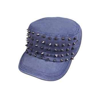 Star style stripe hemming vintage cowboy hat casual flat military hat male women's summer sunbonnet