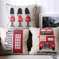 Wholesale linen cushion cover london bus cushion cover/london soldier pillow cover/telephone booth cushion/zara free shipping