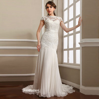 Free Shipping 2014 Elegant Embroidery Chiffon Floor Length Wedding Dress UW1495