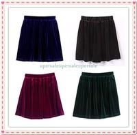 Vintage High Waist Velvet Skater Pleated Aline Short Elasticsed Skirt Two layer free shipping