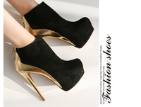 2014 new Autumn winter vintage gold ankle boots for women fashion black high heels boots Stiletto Platform boots brand