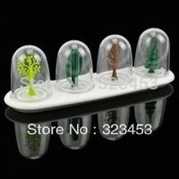 4Pieces Plastic Plant Taste seasoning box/Seasoning Sharker Herb Salt Sugar Paprika Pepper Dispenser Bottles Kitchen Tools