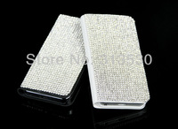 Hot Sale Handmade Luxury bling 100% Austria Crystal Rhinestone Leather Pouch Case Cover for iPhone 4S 4 Free Shipping