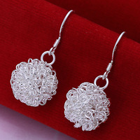 Wholesale Best selling High Quality Fashion Jewelry For Girl's Lady 925 A Pair Of Silver Earring FREE P&P E076