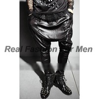 Cool Men's Snake Pattern Print Punk Rock Style Stage Casual Harem Pants Trousers Free Shipping