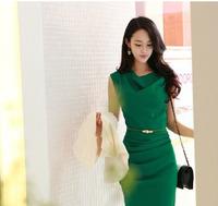 High Quality New Arrival Korea Fashion Women clothing 2013 summer Green Novelty Women  Chiffon Dress Size S M L 14
