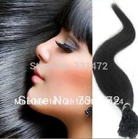 "18"" 20"" 22""#1Jet Black 50g Keratin Stick tip I Tip Hair Extensions Cheep   Virgin Brazilian Straight Hair Free Shipping"