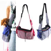 Designer Dog Carrier bags Striped Canvas Sling Bag Pet Carrier For Dog/Cat Travel Bag Red,Blue