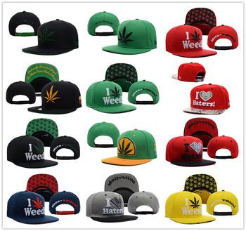 1 PC 2013 Hot New Arrival Adjustable  I LOVE haters Weed Marijuanna Snapback Caps Men Funny Hip Pop Baseball Cap Snapback hats