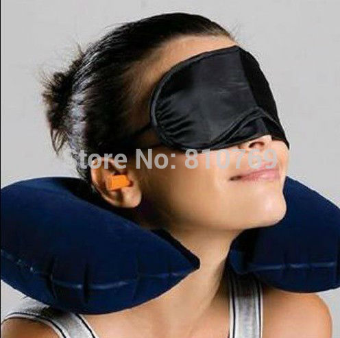 Free shipping! 3 in1 Travel Set Inflatable Neck Air Cushion Pillow + eye mask + 2 Ear Plug Comfortable business trip 111(China (Mainland))