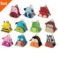 Cute Zoo Cartoon School Bags Mini Oxford Canvas Backpack Gift for Children Kids Free Shipping