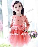 New Baby Girl's Dress Dot Bedeck Tulle Bubble Dress Long Sleeve Dress for 3-11 years 2 Colors 5Sizes 16824
