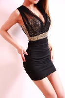 Free Shipping 2014 New Sexy Lace Dress Short Tight Mini Luxury Club Satin Women Clothes sequined Party Evening black dresses