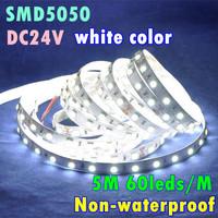 Nonwaterproof DC24V 5M 60leds/m 300leds 14.4W/m 72W White Color 3600-4200LM SMD 5050 LED Flexible Strip Light