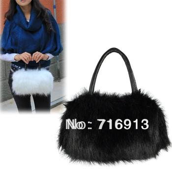 2014 New Arrival ! Winter Mini Lovely Fashion Leather Fur Handbag Shoulder Bag Evening Bag Drop Shipping 8155