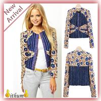 New 2014 Brand Design blazer Women Vintage Blocking Print Long Sleeve Zipper Jacket Ladies blazers Slim Suit women Blazer Jacket