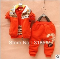 Wholesale Free Shipping New winter boys and girls long-sleeved sweater vest three-piece suit children fawn fleece sweater suit