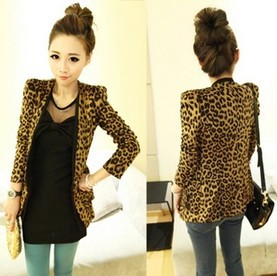 FreesТазing,  Vintage Autumn Женщины Plus Large Leopard Jacket Slim Fit One Кнопка ...