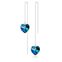 """Free Shipping Romantic """"Heart of Ocean"""" Drop Earrings 925 Sterling Silver Earrings Austrian Heart Crystal Eardrop (CE002)"""