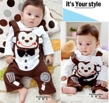 New 100%cotton baby's clothes suit monkey cooks tiny long sleeve clothes wear spring/autumn Can open pants suit 0-2 years old
