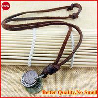 Fashion Men Women Vintage Retro Jewelry Long Leather Pendant Necklace Ethnic Necklaces Coin Charm Pendants Bijuterias With Chain