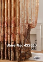 Ready-made curtains special European-style garden living room bedroom upscale coffee finished purple gauze curtains custom