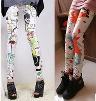 2013 The most beautiful pants Color fashion flower pants graffiti splash-ink nine points printed leggings female leggings